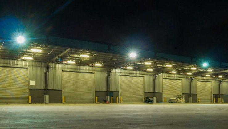 Empty warehouse at Christmas