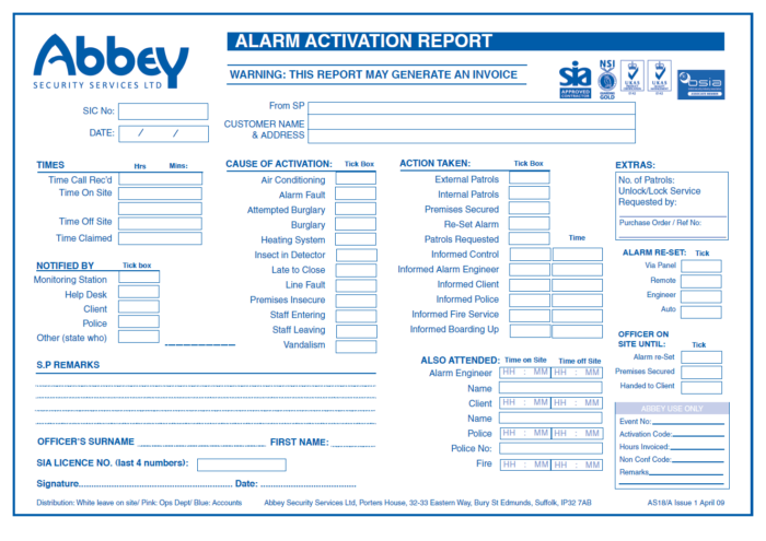 Abbey Security alarm activation report